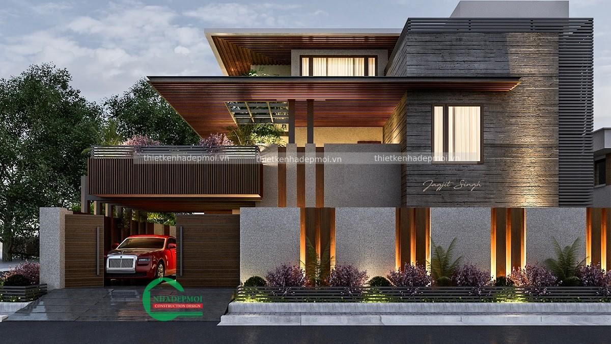 Biệt thự mái bằng hiện đại 3 tầng