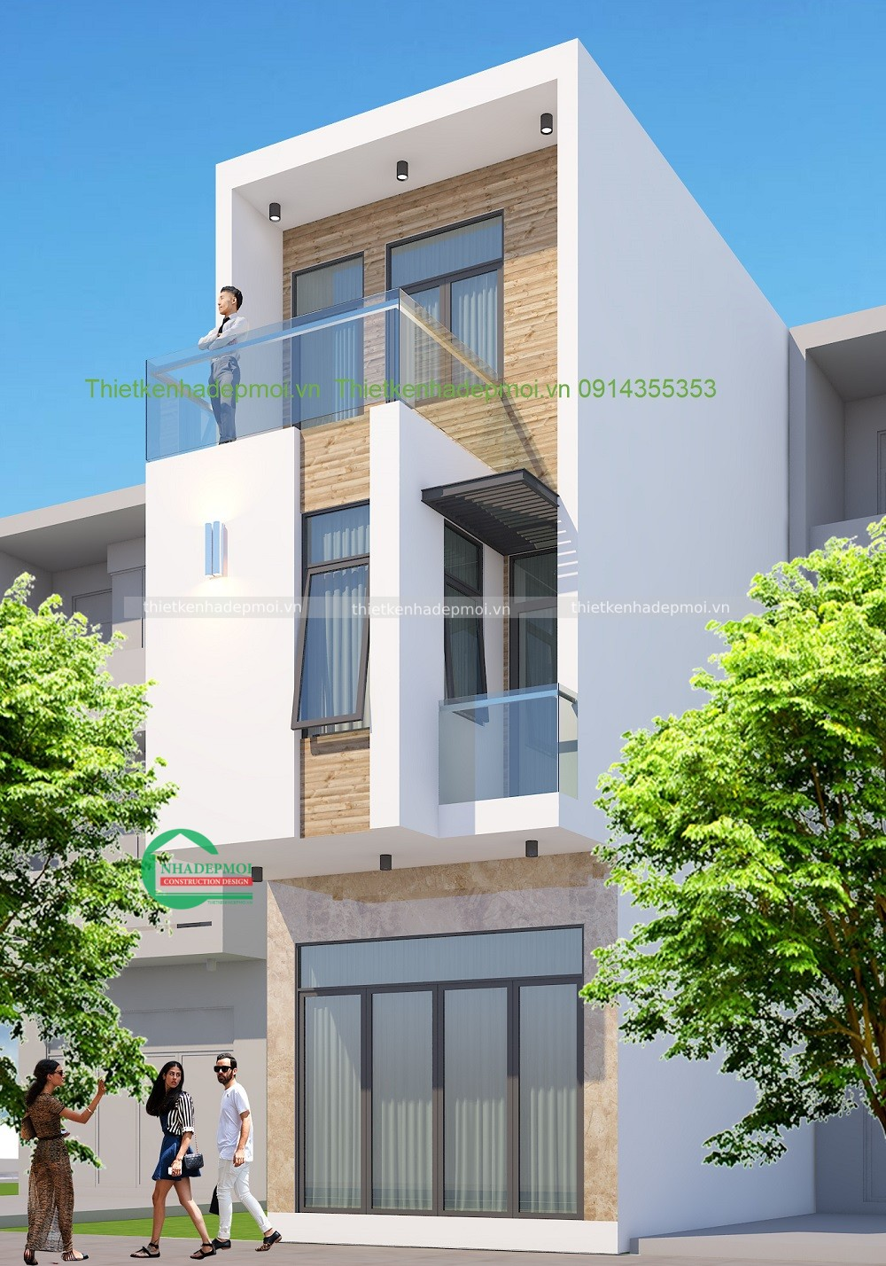 mẫu nhà phố đẹp 3 tầng