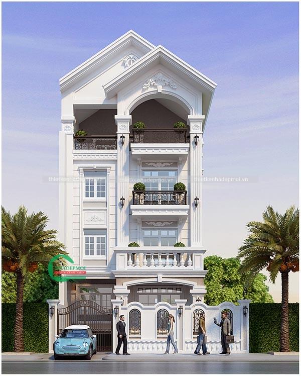 mẫu biệt thự 4 tầng tân cổ điển