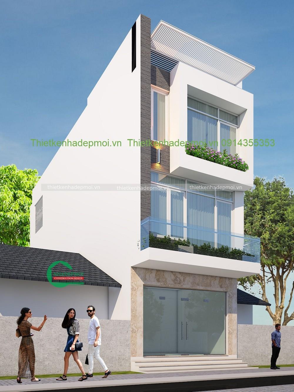 Mẫu nhà phố đẹp 3 tầng mái bằng bê tông 1