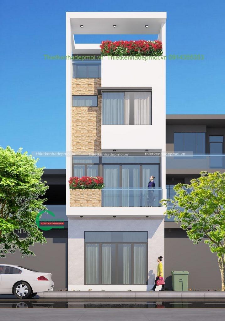 Thiết kế nhà đẹp 1 trệt 2 lầu sân thượng