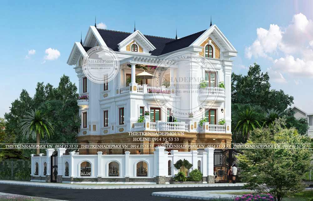 Mẫu thiết kế biệt thự mái thái 3 tầng