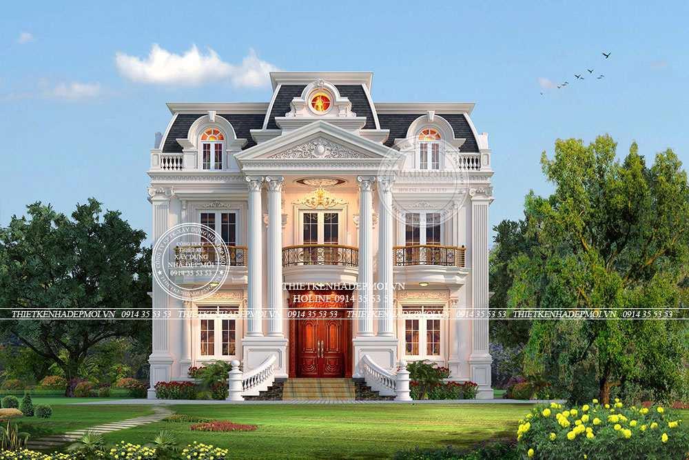 mẫu thiết kế biệt thự tân cổ điển 2 tầng