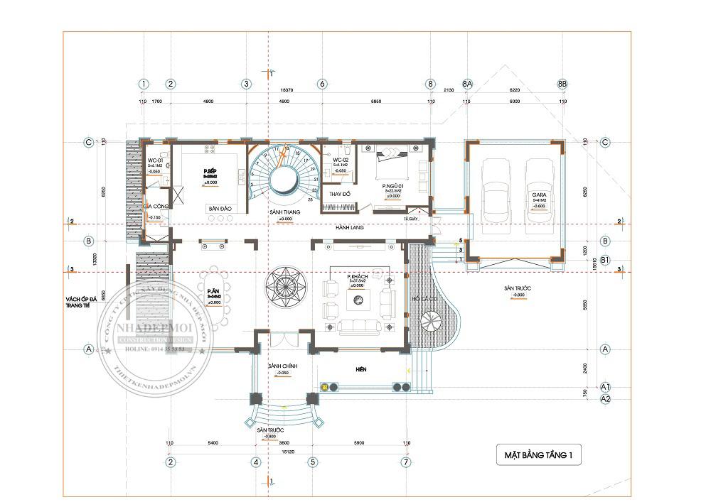 mẫu biệt thự sân vườn 3 tầng 1