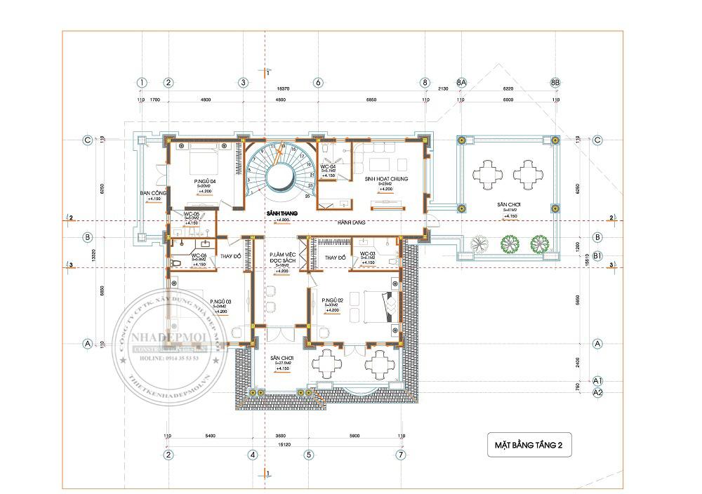 mẫu biệt thự sân vườn 3 tầng 2