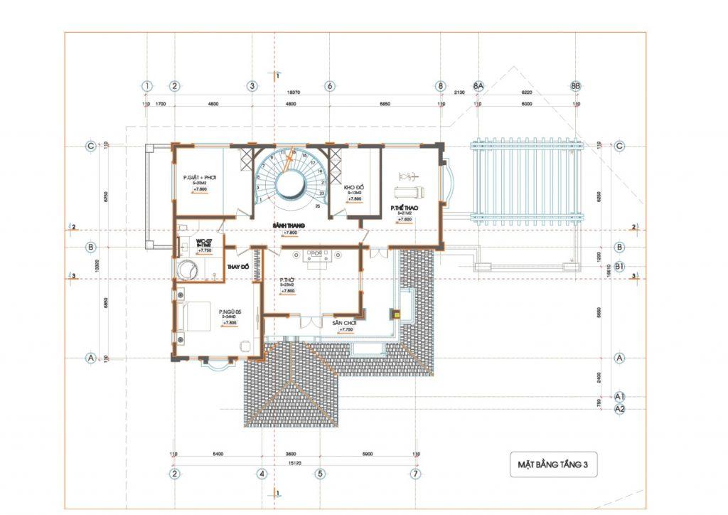 mẫu biệt thự sân vườn 3 tầng 3