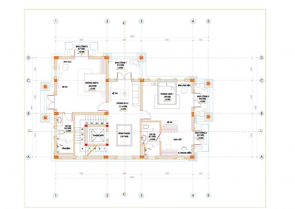 thiết kế biệt thự mái thái 5