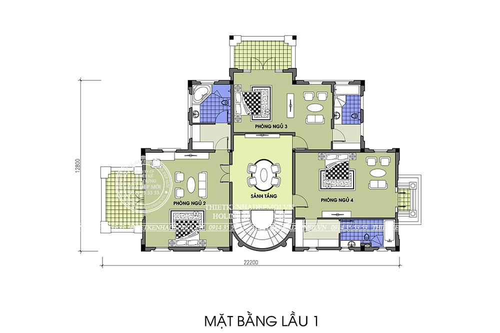 mẫu biệt thự Pháp 2 tầng 1