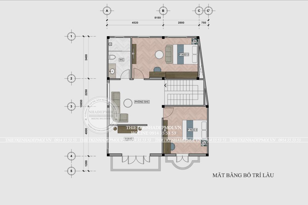mẫu thiết kế biệt thự mini 2 tầng 1
