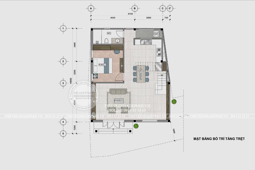 mẫu thiết kế biệt thự mini 2 tầng 4