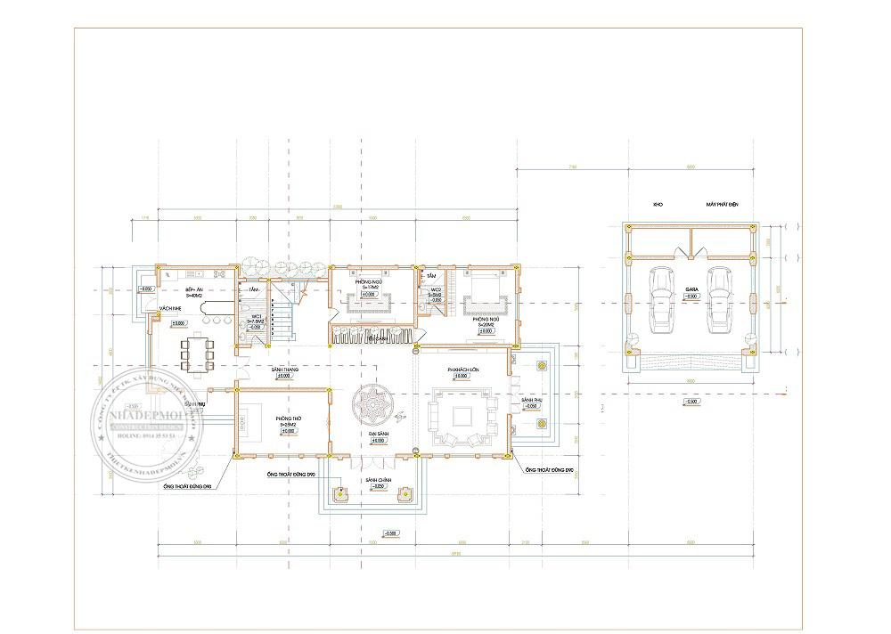 thiết kế biệt thự 1 trệt 1 lầu