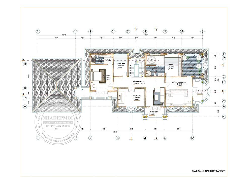 Chi tiết thiết kế mặt bằng tầng 2