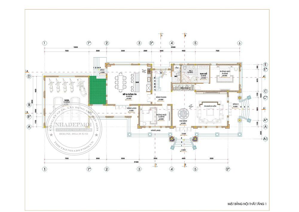 Chi tiết thiết kế mặt bằng tầng 1