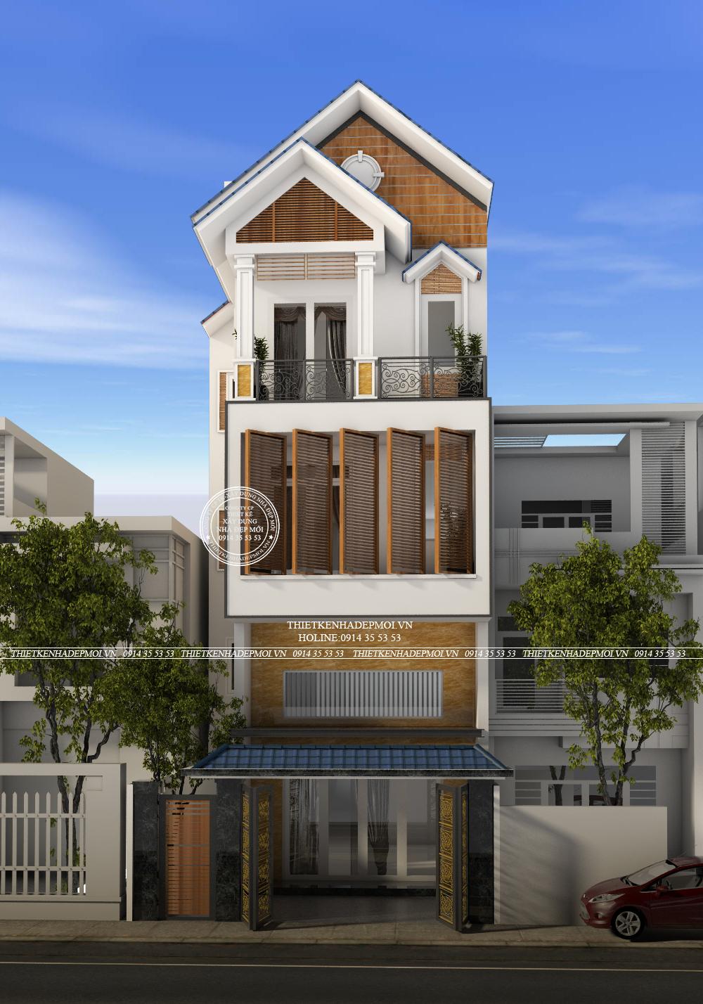Thiết kế nhà 1 trêt 1 lung 2 lầu mái thái -2