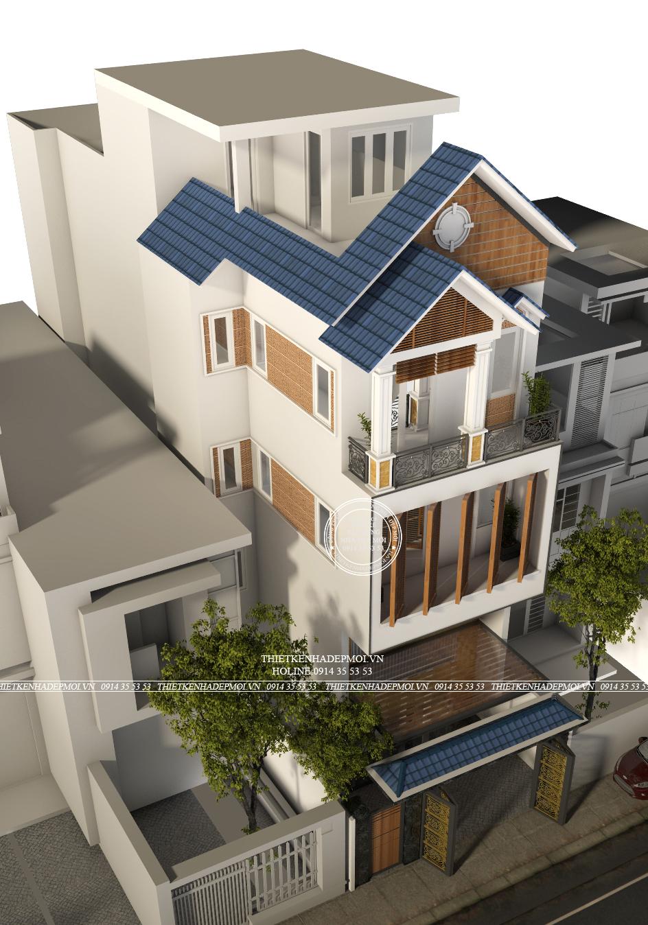 Thiết kế nhà 1 trêt 1 lung 2 lầu mái thái