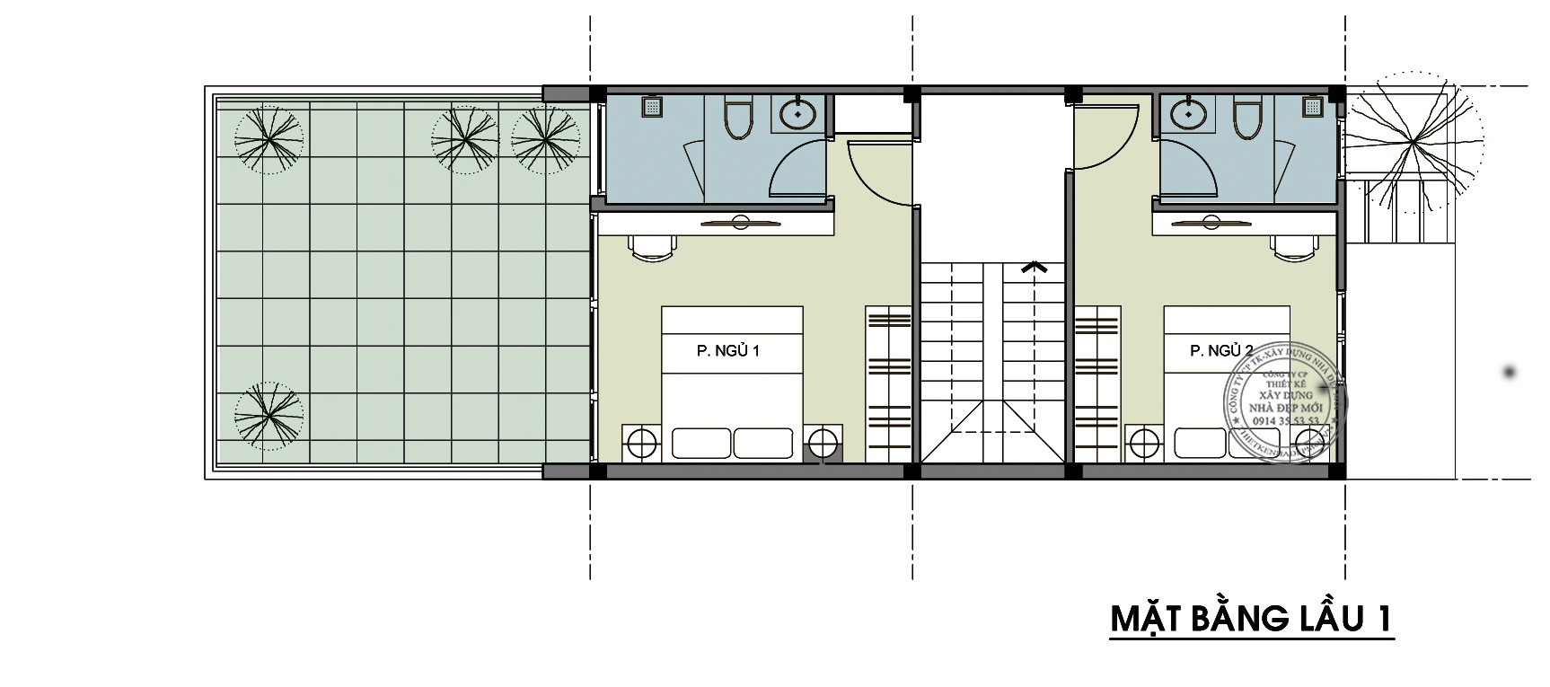 Thiết kế nhà 1 trệt 2 lâu sân thượng