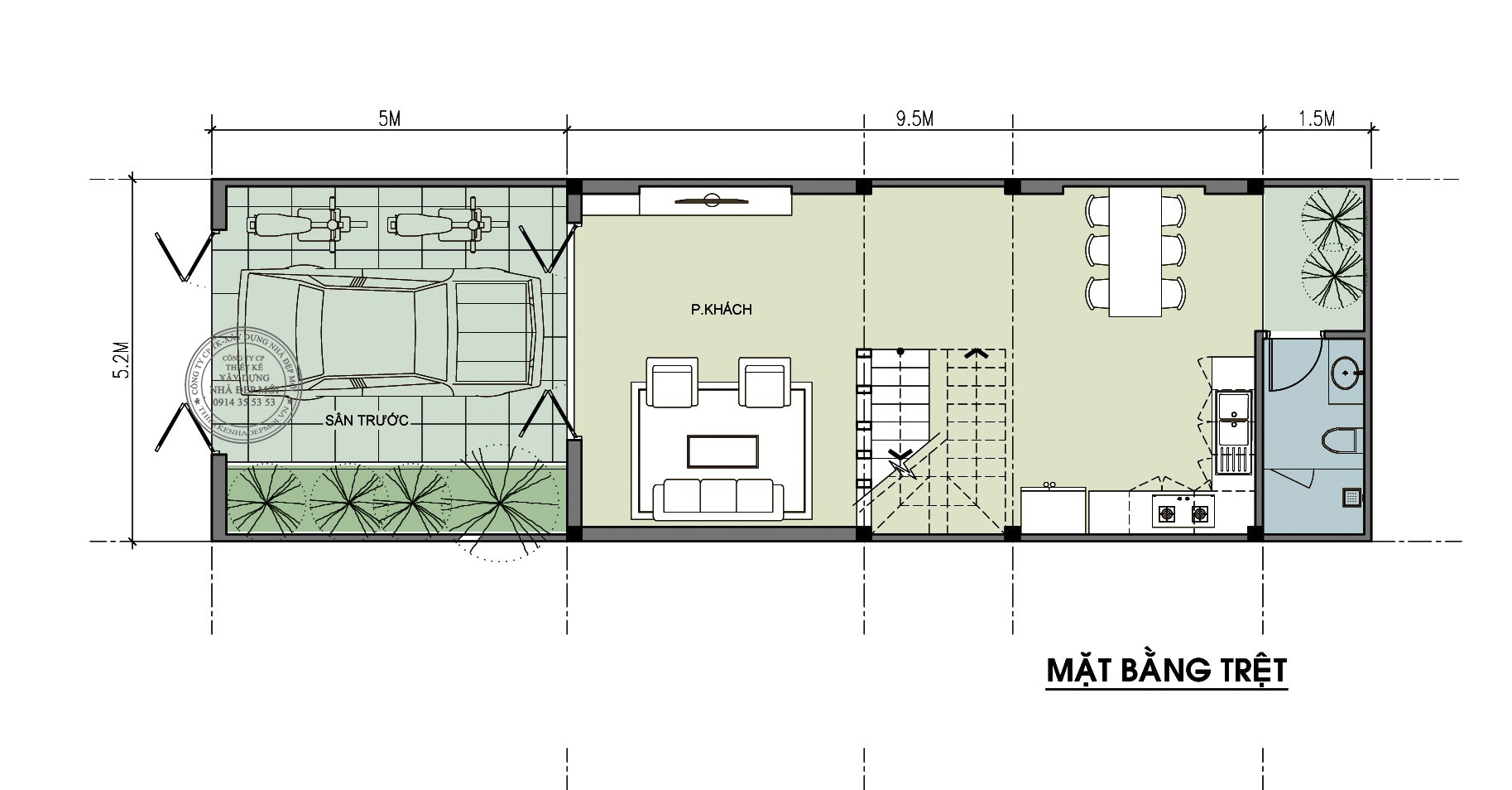 Mẫu nhà phố 1 trệt 2 lầu 1 sân thượng-2