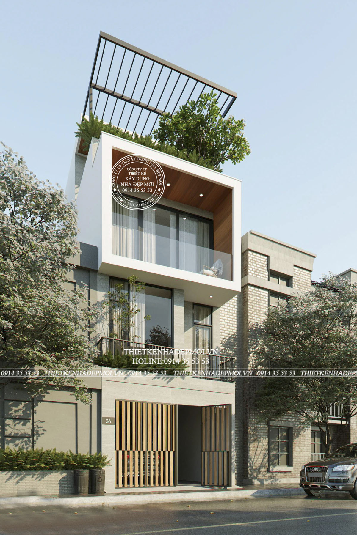mẫu nhà 3 tầng có sân thượng