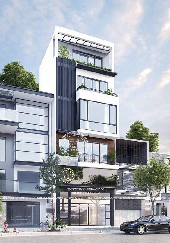 mẫu nhà phố hiện đại 1 trệt 1 lửng 3 lầu