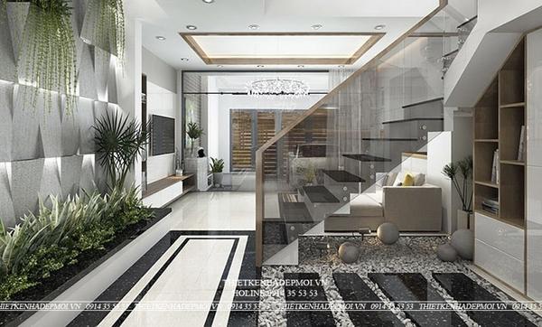 thiết kế nhà 1 trệt 2 lầu sân thượng 4