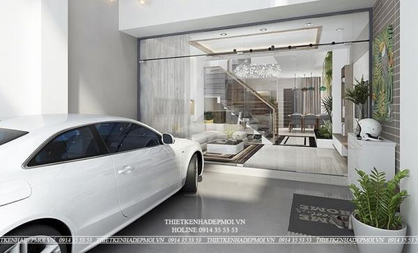 thiết kế nhà 1 trệt 2 lầu sân thượng