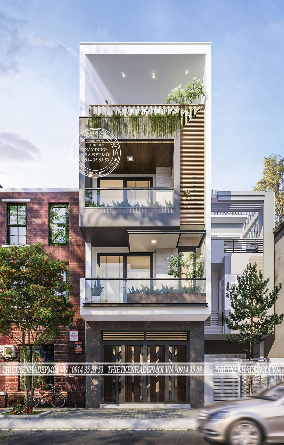 mẫu nhà phố đẹp 1 trệt 2 lầu