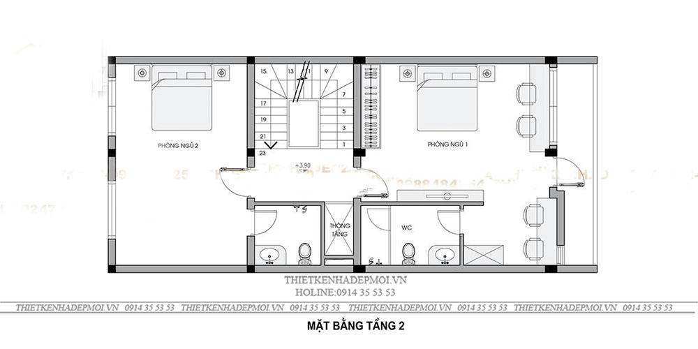 mẫu nhà hiện đại 4 tầng