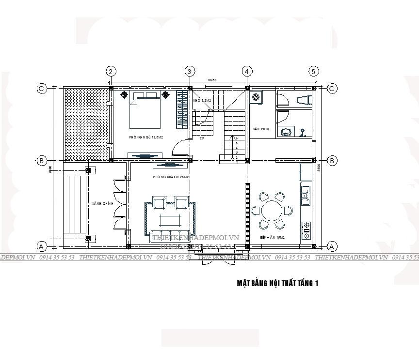 mặt bằng mẫu nhà 2 tầng