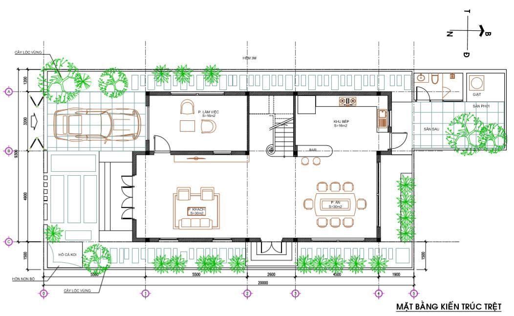mặt bằng mẫu nhà 4 tầng hiện đại
