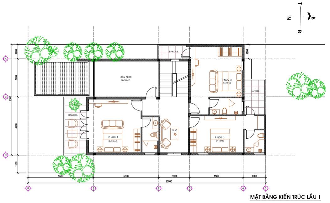 mặt bằng mẫu nhà 3 tầng