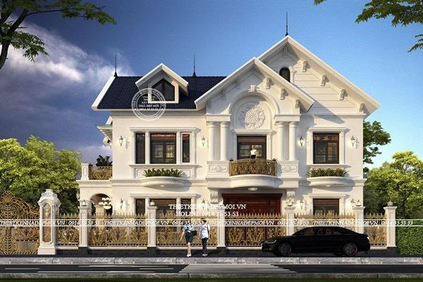 Mẫu biệt thự mái thái 2 tầng đẹp lộng lẫy