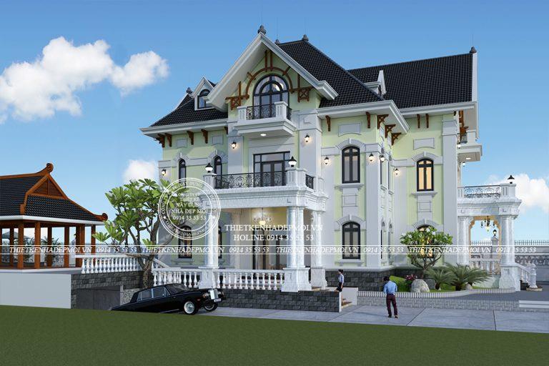 Mẫu biệt thự kiểu Pháp bắt mắt với màu sắc độc đáo