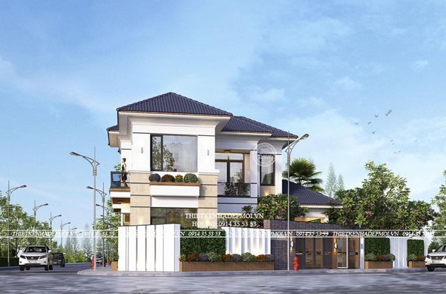 Mặt tiền biệt thự hiện đại 2 mặt tiền 2 tầng, chị Linh – Cần Giờ