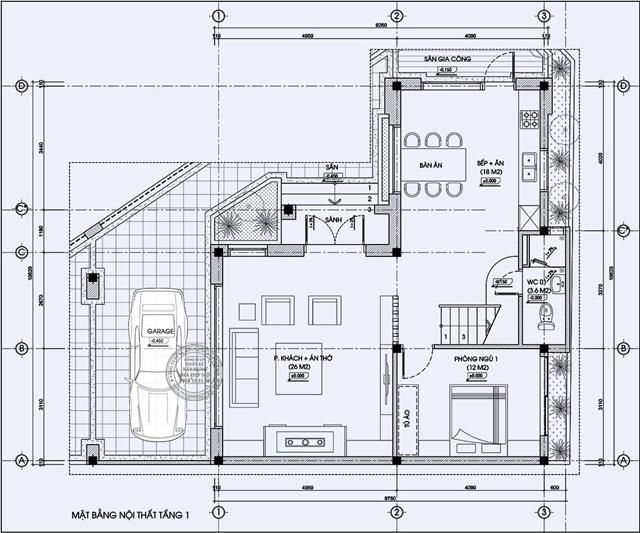 Bản vẽ thiết kế tầng 1 biệt thự hiện đại 2 mặt tiền chị Linh – Cần Giờ