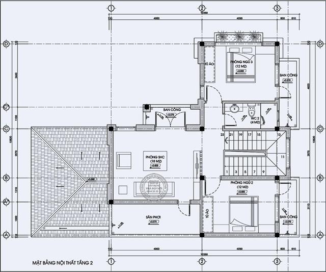 Bản vẽ thiết kế tầng 2 biệt thự hiện đại 2 mặt tiền chị Linh –Cần Giờ