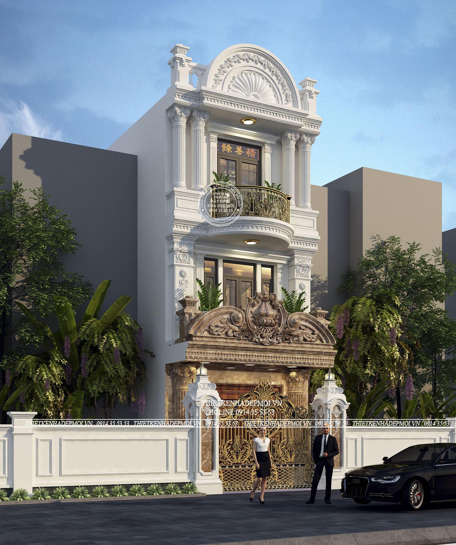 Mặt tiền và vẻ đẹp ngoại quan hút mắt của căn nhà