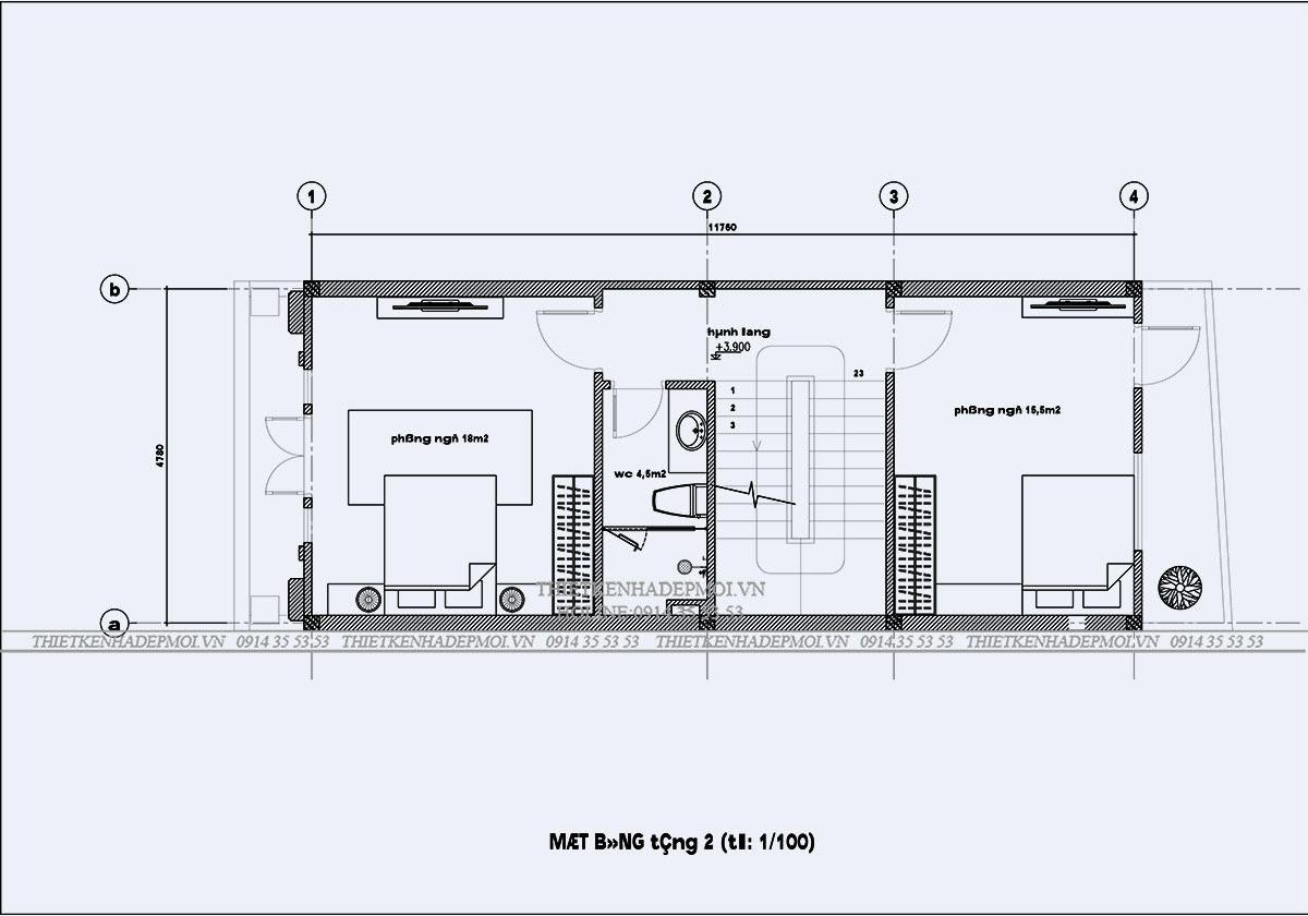 Tầng 2 mang lại những công năng tiện ích cho chủ nhà