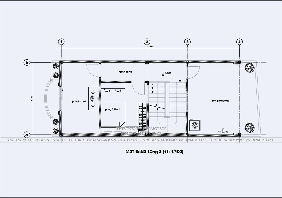 Bản vẽ thiết kế tầng 3