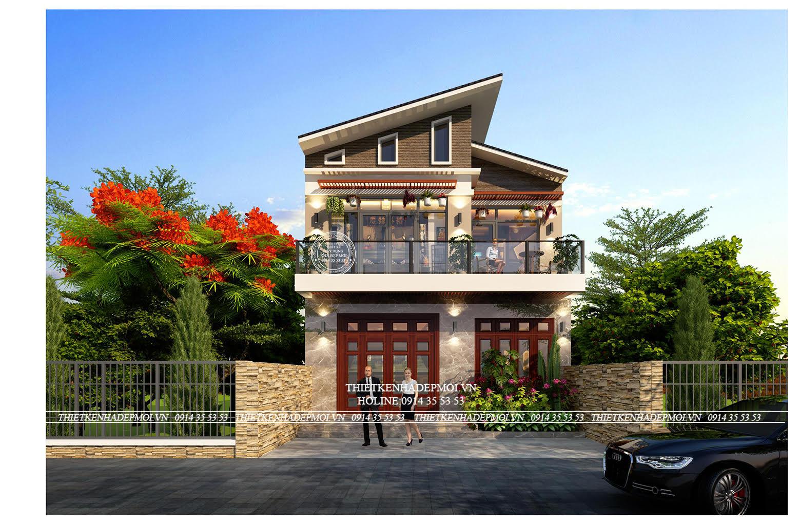 Thiết kế biệt thự hiện đại 2 tầng của chị Linh