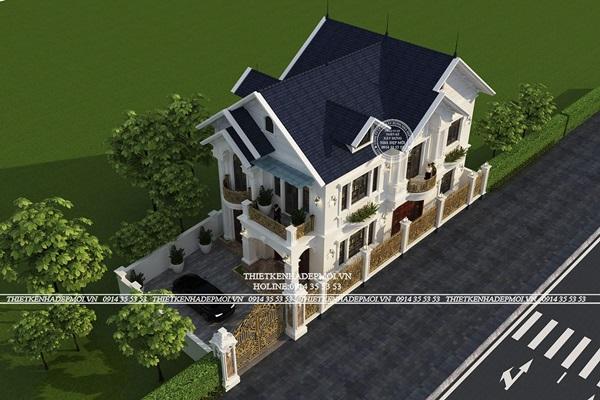 Bản vẽ thiết kế tầng 2 biệt thự mái thái đẹp tại Cần Thơ
