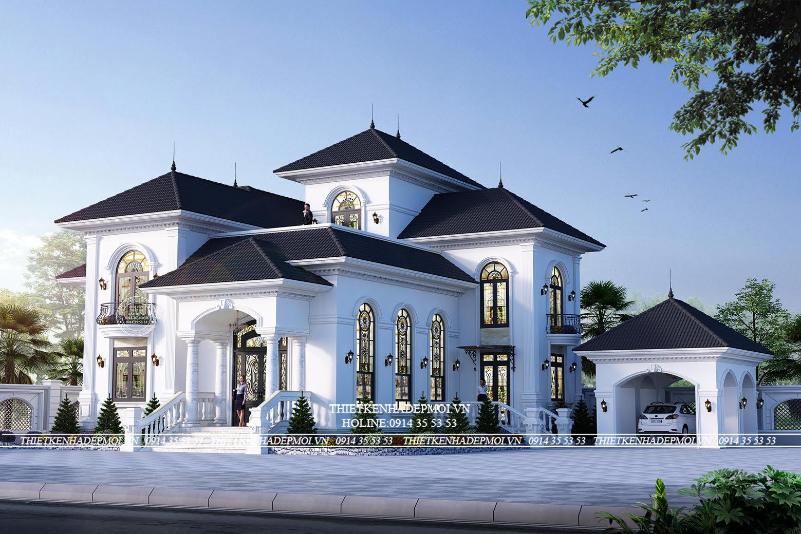 Mẫu biệt thự 2 tầng phong cách Địa Trung Hải đẹp nhẹ nhàng và sang trọng của anh Long (Biên Hòa)