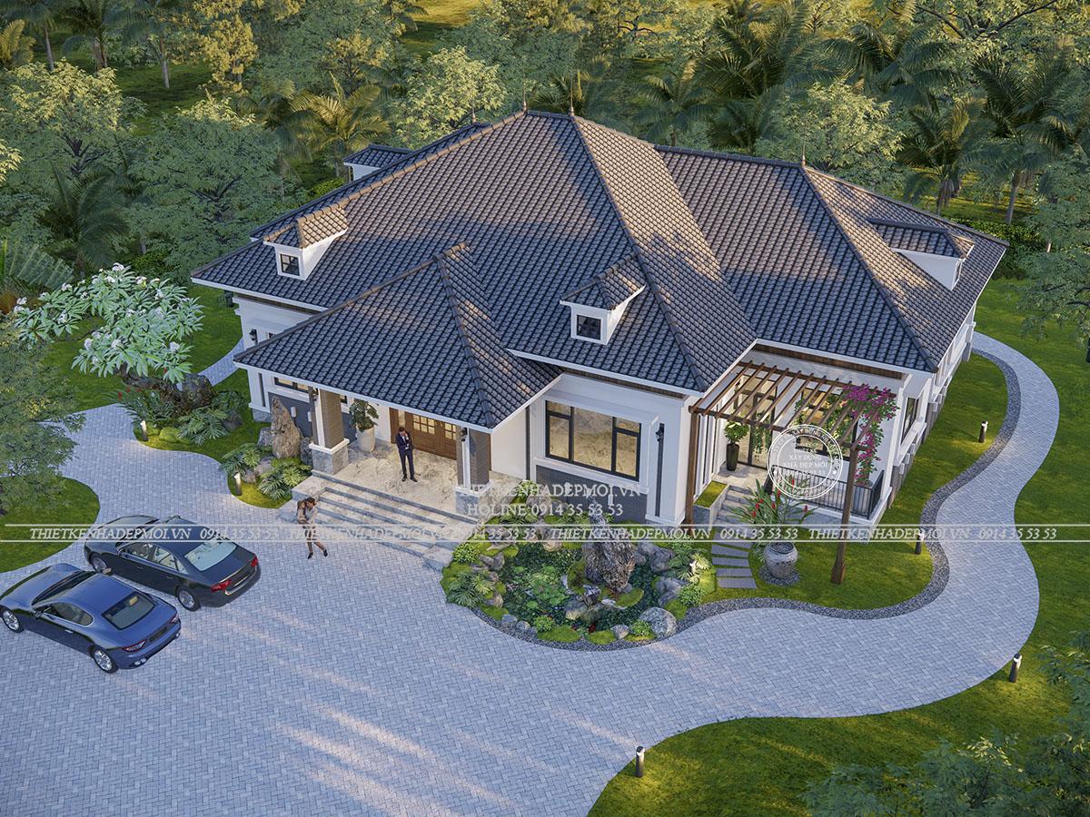 Mẫu biệt thự sân vườn 1 tầng với thiết kế vườn rộng rãi