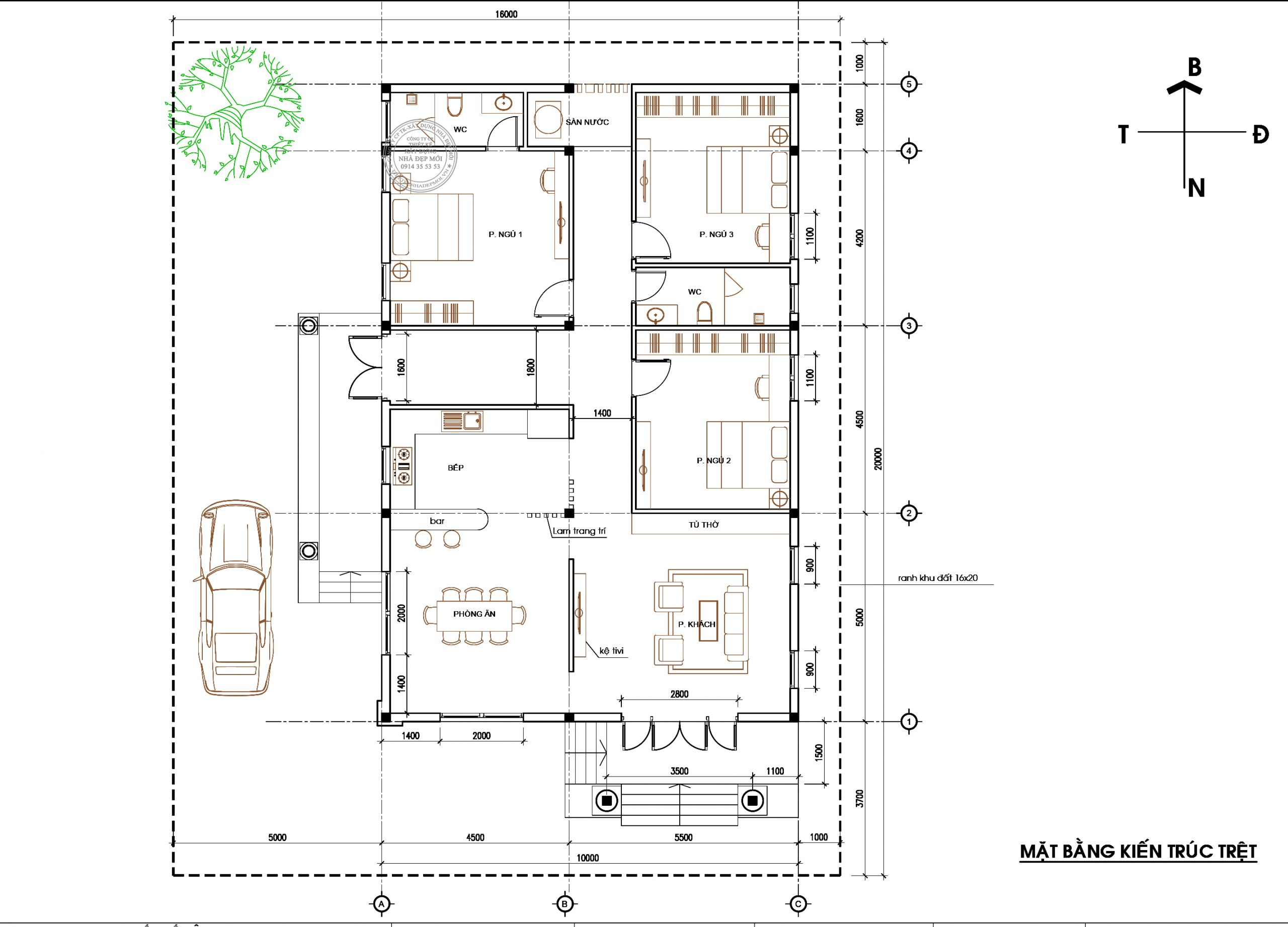 Bảng vẽ tầng trệt của mẫu nhà mái thái