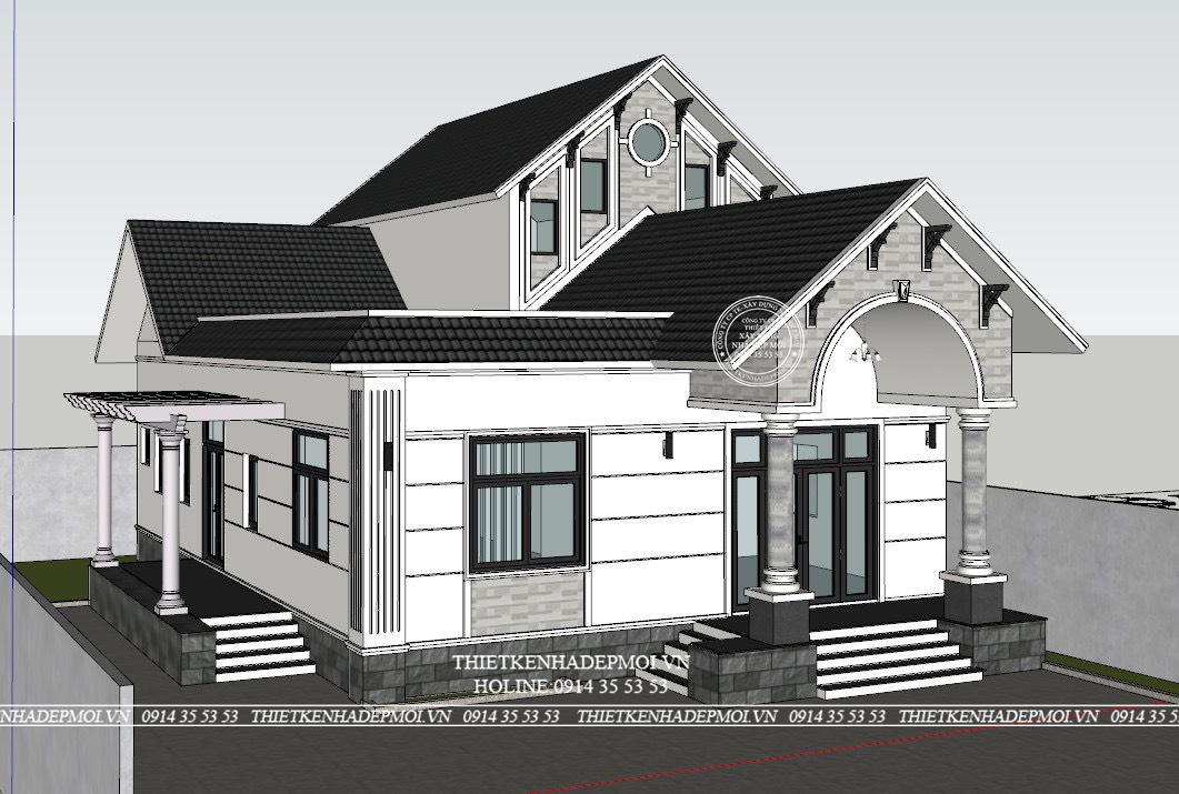 Bảng vẽ 3D của mẫu nhà mái thái