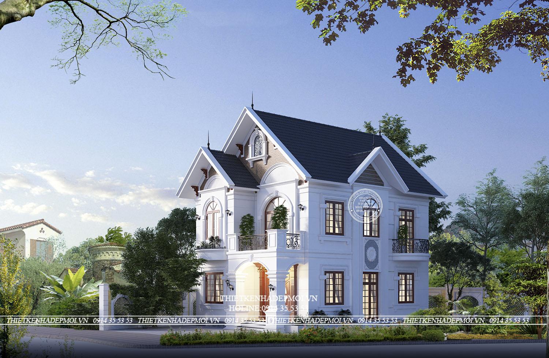 Mẫu nhà mái thái 2 tầng của Chị Hương