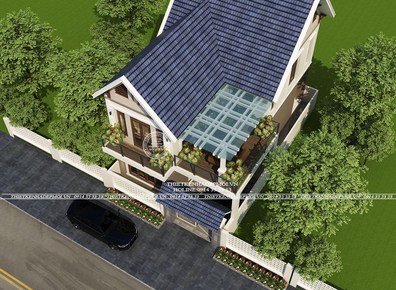 Mẫu nhà mái thái 2 tầng nhìn từ trên cao xuống