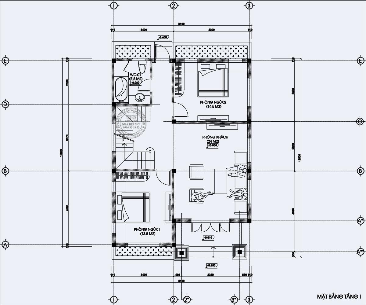 Bảng vẽ mặt bằng tầng 1