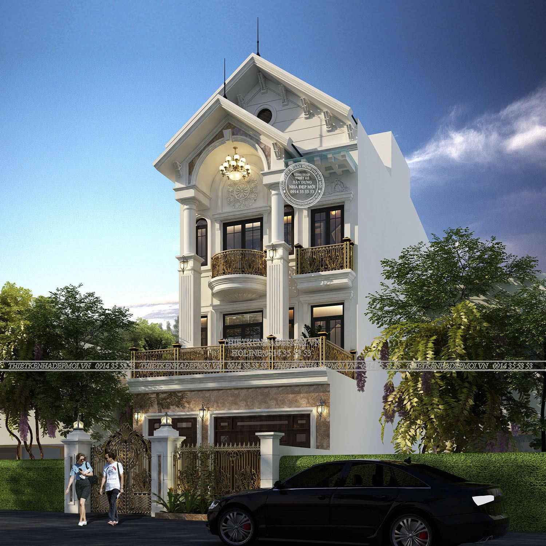 Phối cảnh của mẫu nhà mái thái 3 tầng