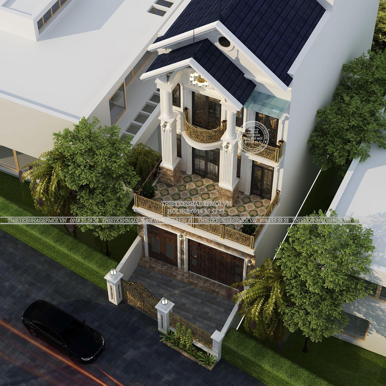 Phối cảnh của mẫu nhà mái thái 3 tầng nhìn từ trên xuống