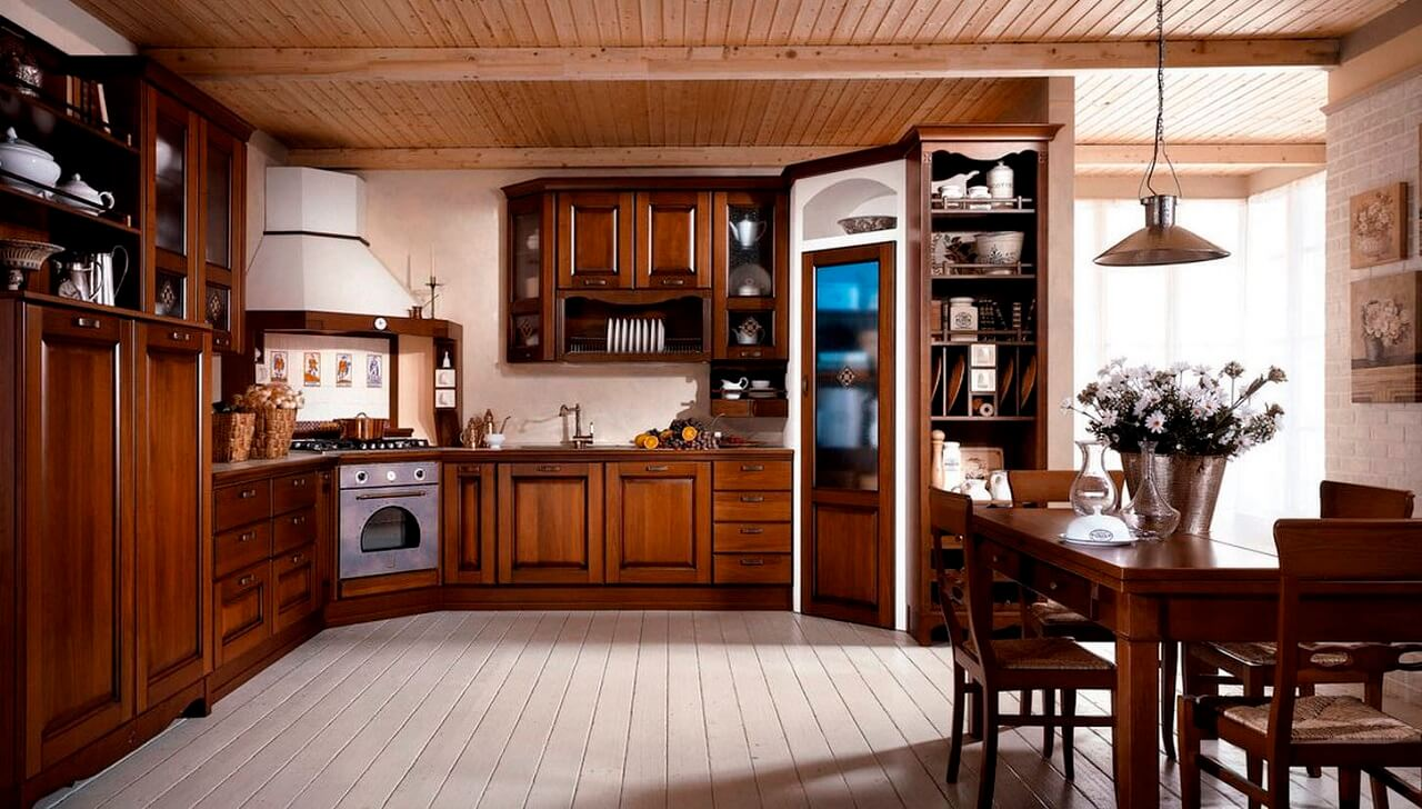 Tủ bếp gỗ tự nhiên được đánh giá cao nhờ độ bền và sự chắc chắn